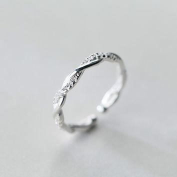 171206   S925 Sterling Silver Fashion Zircon Twist Opening Ring J2928