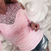 Fashion New Solid Color Lace Long Sleeve Top Women Pink