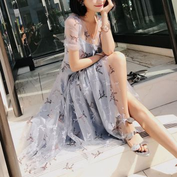 Fashion sexy gauze hollow embroidery flower Nail bead piece dress