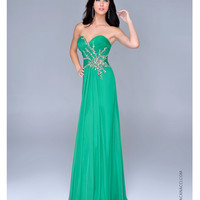 Emerald Chiffon & Beaded Motif Strapless Prom Gown