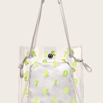 Number Print Clear Tote Bag With Inner Pouch