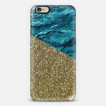 MARBLE IDEA - TEAL BLUE YELLOW GOLD Watercolor Abstract Painting Marbled Agate Geode Pattern Turquoise Chic Girly Faux Glitter Metallic Sparkle Shimmer Glam Modern Trendy Elegant Art Design iPhone 6s case by Ebi Emporium | Casetify