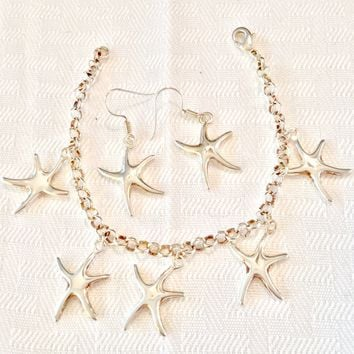 Starfish earrings and bracelet set