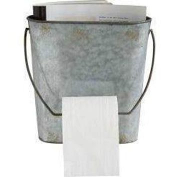 Antiqued Zinc Toilet Paper Wall Basket