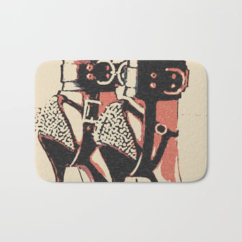 Good girl knows what to wear, fetish cuffs on legs and high heels, BDSM, bondage Bath Mat by Casemiro Arts - Peter Reiss