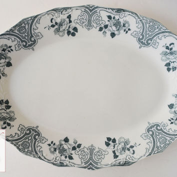 "Huge 19"" English Staffordshire China Teal Transferware Serving Tray Platter Roses Scrolls"