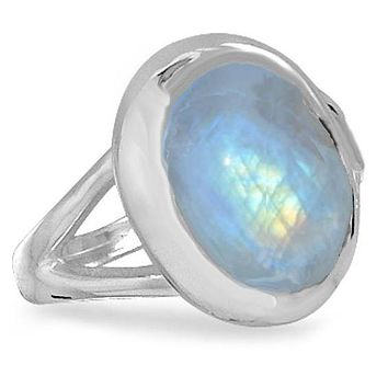 Rainbow Moonstone Oval Polished Sterling Silver Ring