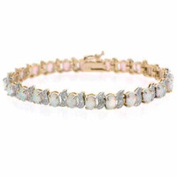 18K Gold over Sterling Silver Created White Opal & Diamond Accent S and Oval Tennis Bracelet