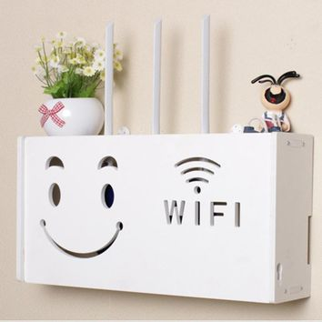 yazi Wireless Wifi Router Box Wood-Plastic Shelf Wall Hangings Bracket Cable Storage 2 Size Home Decor