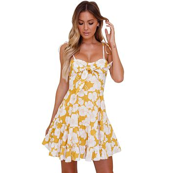 Z| Chicloth Yellow Floral Print Tassel Tie Sweet Sundress