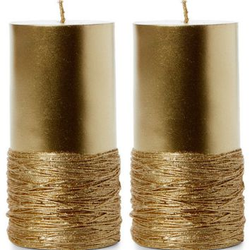 SET OF 2 JAY IMPORT Gold-Tone String Pillar Candles