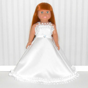 White Special Occasion Dress for 18 inch Dolls Floor Length Gown with Ribbon Ruffles American Doll Clothes