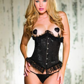 Shirley Of Hollywood Tapestry & Ruffled Lace Corset