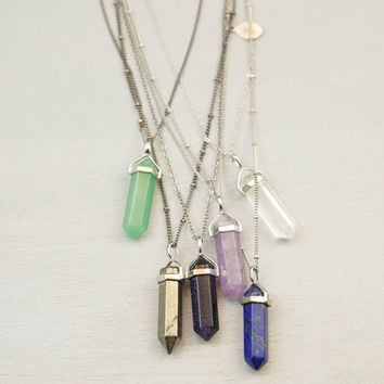 Crystal Point Long Necklace // Long Chakra Crystal Pendant Necklace // Natural Stone Crystal Point with Extra Long Necklace Option