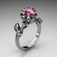 Unique 14K White Gold 1.0 Ct Pink Sapphire Diamond Lifetime Flower Engagement Ring Wedding Ring R1032-14KWGDPS