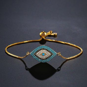 NEWBUY 2018 Trendy Turkish Gold Evil Eye Bracelet Pave CZ Blue Eye Gold Chain Bracelet Adjustable Female Party Jewelry