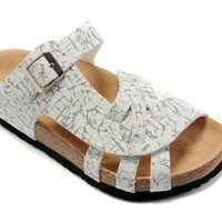 Birkenstock Pisa Sandals Leather Black And White Striped - Ready Stock