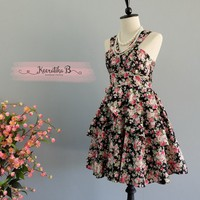 Roses Petal - Summer's Whisper Collection Spring Summer Sundress Black Pink Floral Party Dress Wedding Bridesmaid Dresses Floral Dress XS-XL