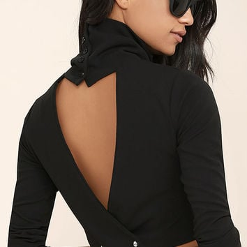 Temptations Black Long Sleeve Crop Top