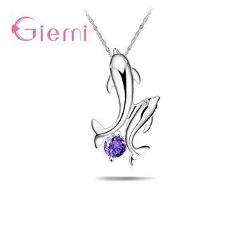 GIEMI Lovely Dolphin Shape 925 Sterling Silver Women Pendant for Wedding Party Girls Cute Necklaces Collar Jewelry Accessories