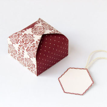Diy Printable Gift Box Brown Patterned No Glue Slotted Cookie Templates