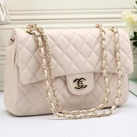 CHANEL Women Shopping Leather Metal Chain Crossbody Satchel Bag