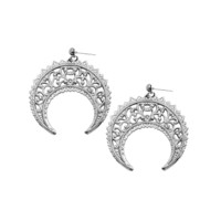 Eastern Crescent Silver Earrings
