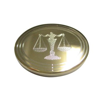 Gold Toned Etched Oval Scale of Justice Law Magnet