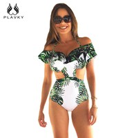 Sexy Tropical Palm Leaf Ruffled Off Shoulder Trikini Bathing Suit Cut Out Monokini High Waist Swimwear Women One Piece Swimsuit