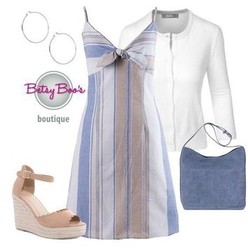 (pre-order) Set 459: Blue Striped Bow Dress (bag and shoes sold separately)
