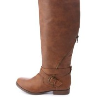 Belted Zipper-Embellished Knee-High Boots by Charlotte Russe - Cognac