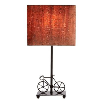 Bicycle Accent Lamp with Cork Shade -- 18-5/8-in