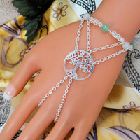 Tree of Life Hand Harness, Slave Bracelet, Hand Chain, Infinity Ring, Body Jewelry, Body Chain, Jade