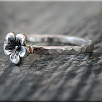Cherry Blossom Stacking Ring, Sterling Silver Flower Ring, Stacking Jewelry, Lucky Charm Jewelry, Sterling Silver Cherry Blossom Ring