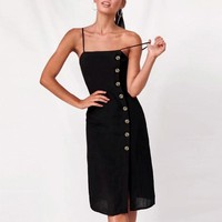 Black spaghetti straps midi dress women Elegant high waist button female  dresses Slash neck split ladies vestidos