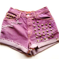 SALE Purple Grape/ High-Waisted Denim/ Gold Size 6/ Studded Ripped and Distressed Shorts