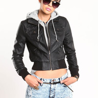 BOMBER HOODIE FAUX LEATHER JACKET COMBO