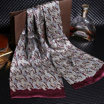 DANKEYISI Silk Scarf Art Deco Regal Maroon