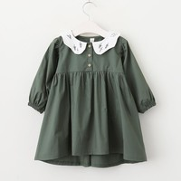 YG80122542 2018 New Spring Baby Girls Dress Solid Full Sleeve Girl Dress Peter Pan Collar Fashion Girls Clothes Baby Dress