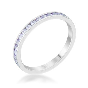 Teresa Lt Lavender Silver Eternity Stackable Ring | 1ct | Cubic Zirconia | Stainless Steel