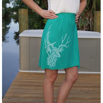 Two-Tone All Antlers Racerback Tank Dress - Green and Ivory