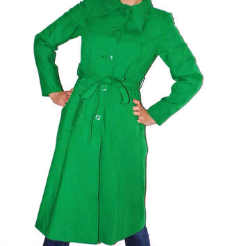 Long coat Green Vintage Spring coat Jacket Trench coat green coat 80s Green Jacket