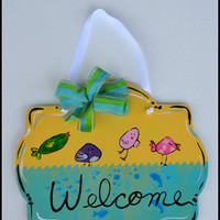 Spring Door Hanger, Welcome Sign/Door Hanger, Hand Painted Spring Wall Art, Seasonal Decor - Birds, Mothers Day Gift