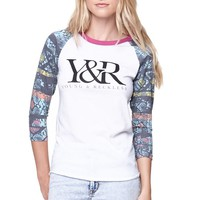 Young & Reckless Trademark Raglan T-Shirt - Womens Tee - White