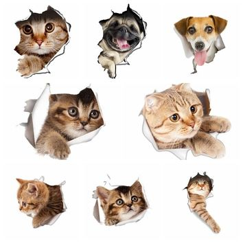 New Funny 3D Cat Toilet Wall Stickers Poster Hole View Vivid Dogs Pawed Animal Home Decals Bathroom Vinyl Mural Art Patrolling