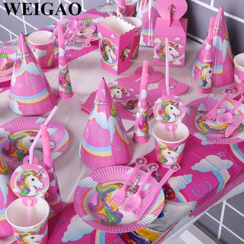 WEIGAO Pink/White Unicorn Theme Party Sets Kids Birthday Party Supplies Unicorn Tableware Banner Baby Shower Wedding Decorations