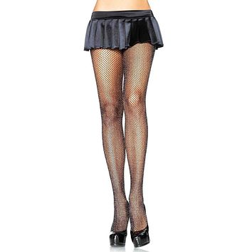 Winning The Game Sheer Fishnet Mesh Glitter Tights Stockings Hosiery - 2 Colors Available