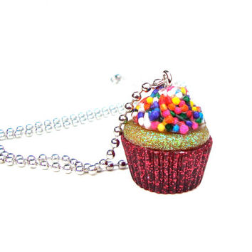 Cute and sweet cupcake necklace - kawaii candy cupcake pendant necklace - colorful, sparkly red cupcake necklace by Sparkle City Jewelry