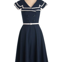 60's Vintage Sailor Pinup Sexy Navy Captain Flare Swing Party Dress