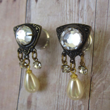 "One of a Kind Pair of Vintage Rhinestone & Pearl Dangle Plugs - Girly Gauges - Formal - Bridal - 2g, 0g, 00g, 7/16"" (6mm, 8mm, 10mm, 11mm)"